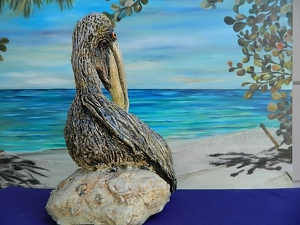 Pelican Sculpture by Amy Brown Clay ~ 9 x 7