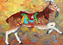 Goat Carousel by Marion Rose Acrylic ~ 9 x 12