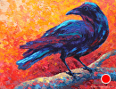 Classic Crow by Marion Rose Acrylic ~ 10.75 x 13.75