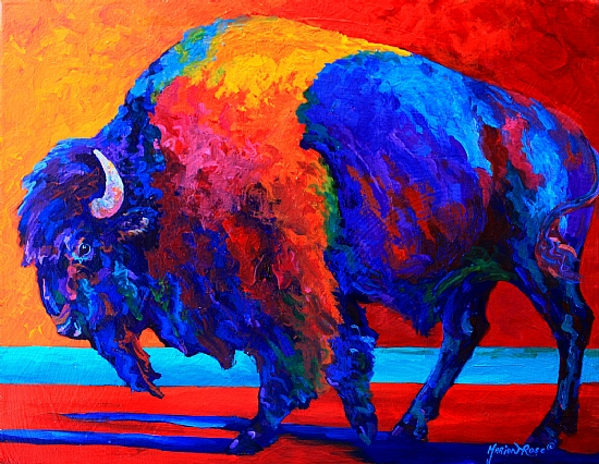 Abstract Bison by Marion Rose Acrylic ~ 14 x 18Acrylic Paintings Sunset