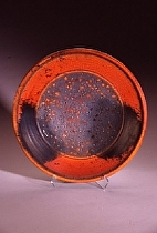 "Deco Platter by Bob Smith Raku ~ 20"" diameter x"