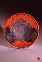"Deco Platter by Bob Smith Raku ~ 20"" diameter x"