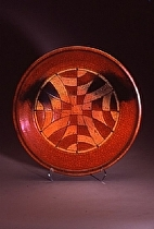 "Checkerboard Platter by Bob Smith Raku ~ 20"" diameter x"