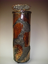 "Lidded Cylinder Pot by Bob Smith Raku ~ 24"" x 8"""