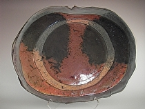 "Slab-built Platter by Bob Smith Raku ~ 18"" x 22"""