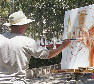 painting in puerto vallarta old town plaza by Rick Delanty  ~  x