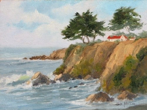 Cayucos Cliffs by Sue Johnson Oil ~ 9'' x 12''