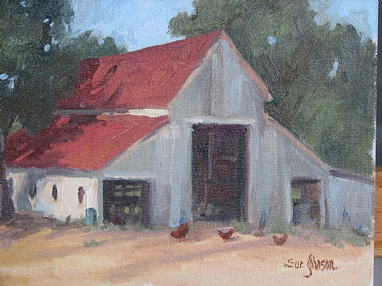 Barn at Halter Ranch by Sue Johnson Oil ~ 9 x 12