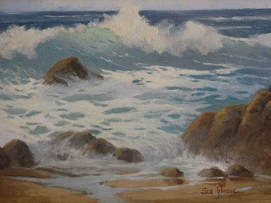 Morning Surf by Sue Johnson Oil ~ 11 x 14