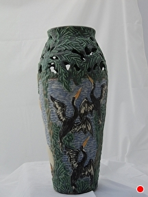 Waterbirds by Martin Cushman Clay ~ 15'' tall x 21'' around