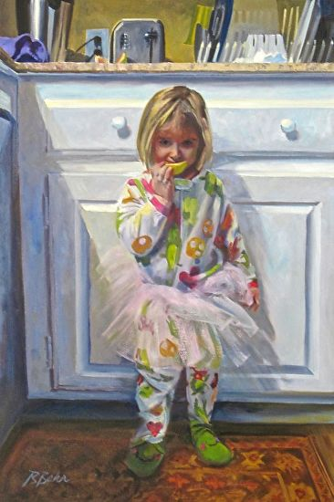 Girl with grapefruit and tutu - Oil