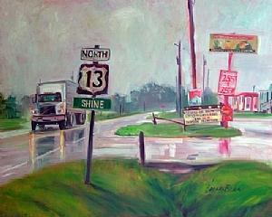 "Rainy Day Trucker by Brenda Behr Oil ~ 24"" x 30"""