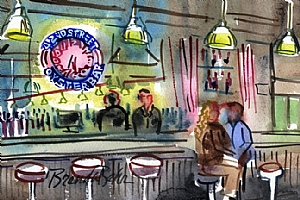 """The couple at the bar by Brenda Behr Watercolor ~ 6"""" x 9"""""""