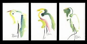 "White Egret 1, 2, and 3 by Brenda Behr Watercolor ~ ea. 6"" x 4"""