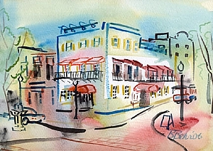 "Corner of Market & Water Street by Brenda Behr Watercolor ~ 7"" x 9"""