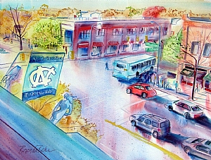 "Corner of Franklin and Columbia Street by Brenda Behr Watercolor ~ 18"" x 24"""