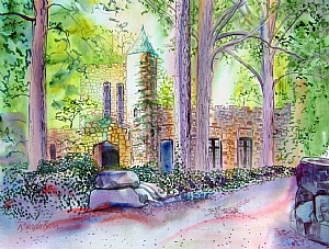 "Gimghoul Castle by Brenda Behr Watercolor ~ 18"" x 24"""