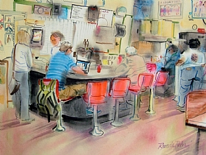 "Saturday noon hour, Sutton�s Drug Counter by Brenda Behr Watercolor ~ 18"" x 24"""