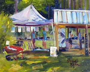 "Festival shopping at Sunshine Lavender Farm by Brenda Behr Oil ~ 8"" x 10"""