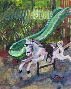 "Horse by the green slide by Brenda Behr Oil ~ 10"" x 8"""