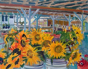 "Sunflowers at Garner�s Farm by Brenda Behr Oil ~ 11"" x 14"""