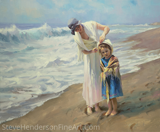 Beachside Diversions by Steve Henderson Oil ~ 30 x 36