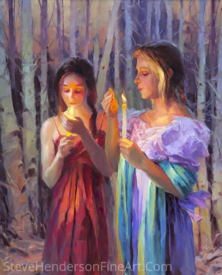 Light In The Forest by Steve Henderson Oil ~ 30 x 24