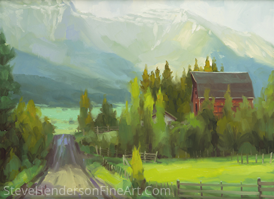 Sunday Drive In The Wallowa Valley by Steve Henderson Oil ~ 12 x 16
