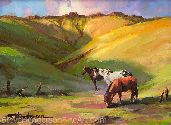 Three Horses by Steve Henderson Oil ~ 9 x 12