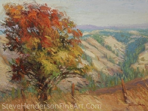 "Autumn Glory on Robinette Mountain by Steve Henderson Oil ~ 12"" x 16"""