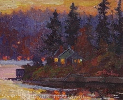 "Puget Sound Dusk by Steve Henderson Oil ~ 8"" x 10"""
