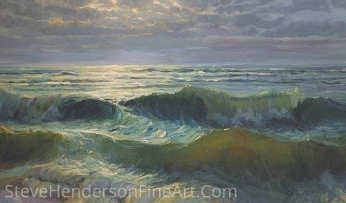 "Afternoon Waves by Steve Henderson Oil ~ 28"" x 48"""