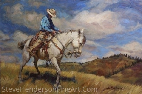 "Working Trigger by Steve Henderson Oil ~ 24"" x 36"""