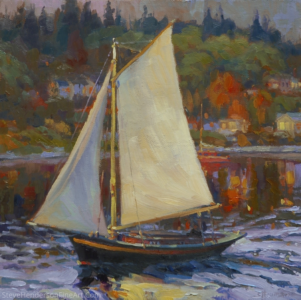 Bainbridge Island Sail-by -- Available at The Lawrence Gallery, OR by Steve Henderson Oil ~ 12 x 12