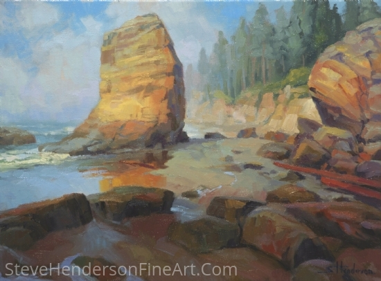 Otter Rock Beach by Steve Henderson Oil ~ 12 x 16
