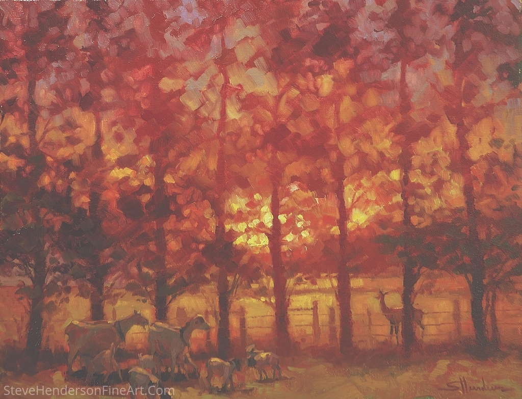 FenceLine Encounter by Steve Henderson Oil ~ 14 x 18