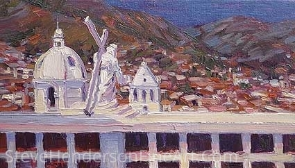 Iglesia Colombiana by Steve Henderson Oil ~ 8 x 12