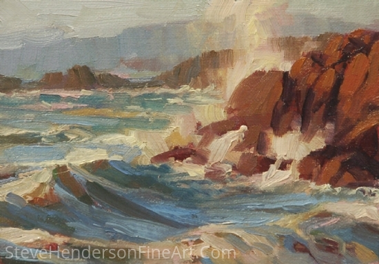 Coastline -- Framed Miniature by Steve Henderson Oil ~ 5 x 7