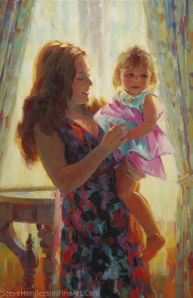 Madonna and Toddler by Steve Henderson Oil ~ 30 x 20