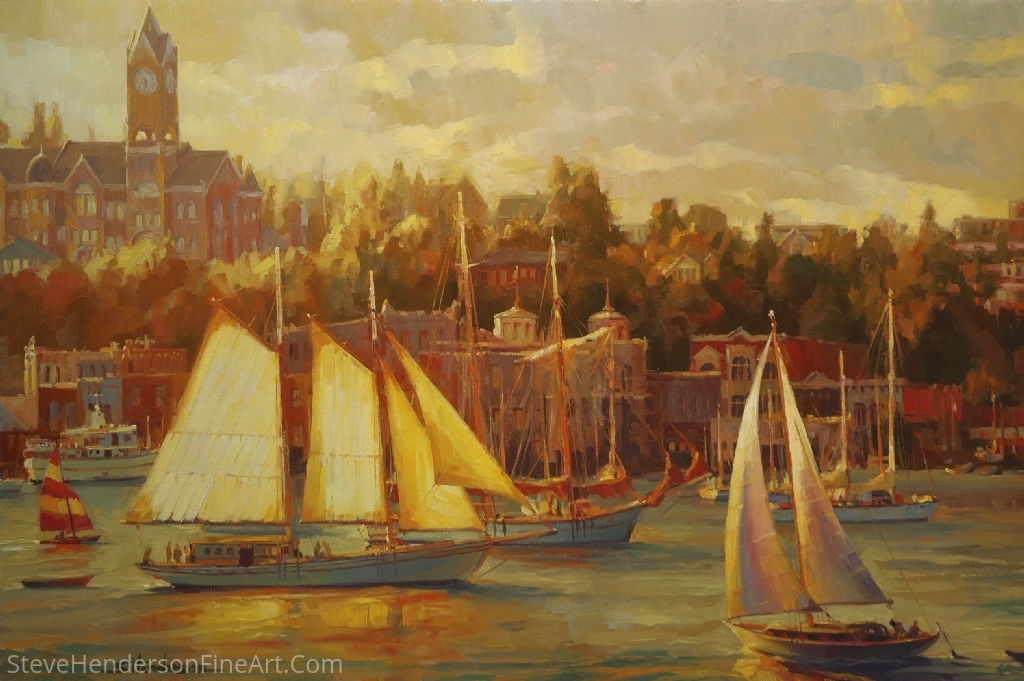 Harbor Faire by Steve Henderson Oil ~ 24 x 36