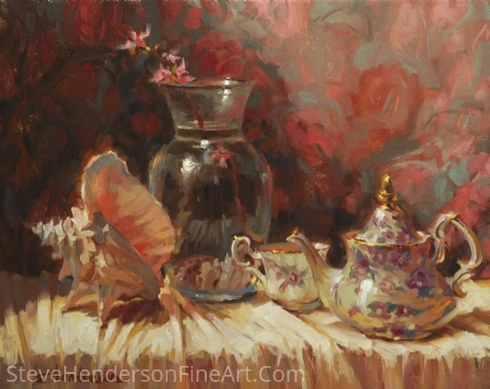 Tea By The Sea by Steve Henderson Oil ~ 16 x 20