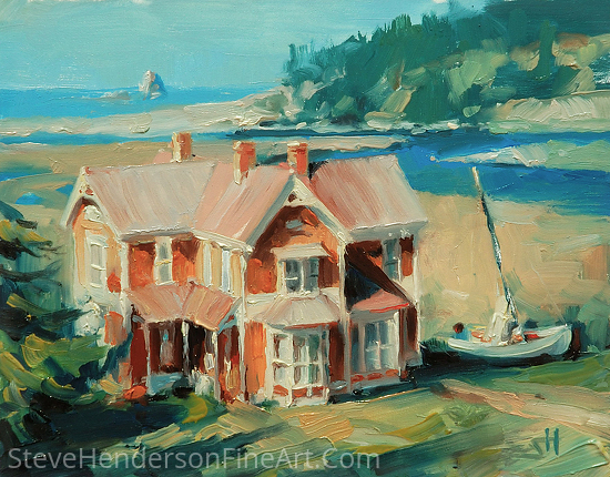 Hughs' House -- Available at Mystic Seaport Maritime Art Museum by Steve Henderson Oil ~ 6 x 8
