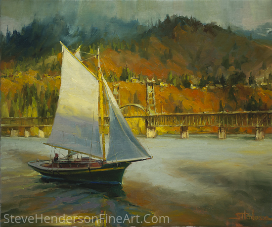 Autumn Sail by Steve Henderson Oil ~ 20 x 24
