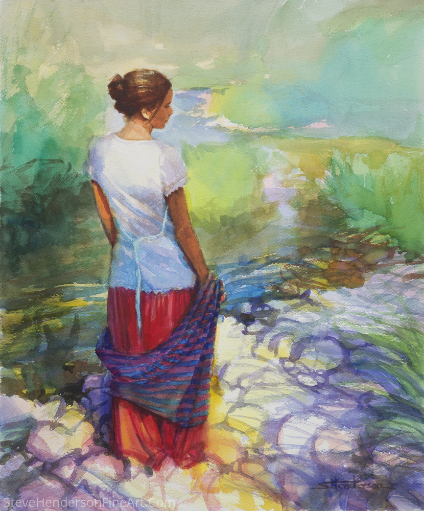 Riverside Muse by Steve Henderson Watercolor ~ 24 x 20