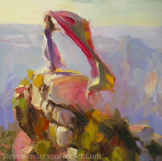 Spirit of the Canyon -- Framed, Miniature Study by Steve Henderson Oil ~ 6 x 6