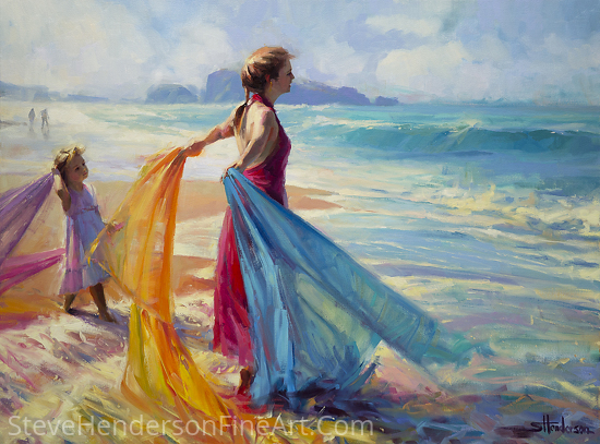 Into The Surf -- Original Oil Painting by Steve Henderson Oil ~ 30 x 40