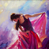 Magenta -- Original Oil Painting -- Woman Dancing against Abstract Background by Steve Henderson