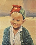 "Red Hat Miao Boy by Neil Walling Oil ~ 30"" x 24"""