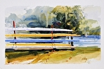 """Fountain Point Resort Sculls Rack"" by Neil Walling Watercolor ~ 15"" x 22"""