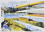 """Fountain Point Resort Sculls"" by Neil Walling Watercolor ~ 11"" x 14"""